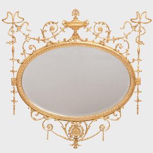 George III Style Giltwood Oval Mirror