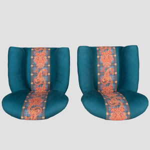 Pair of Victorian Style Upholstered Club Chairs
