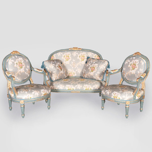 Suite of Louis XVI Style Grey Painted and Parcel-Gilt Seat Furniture