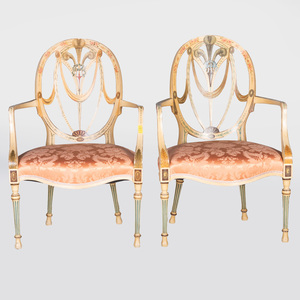 Pair of George III Style Painted Armchairs