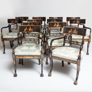 Set of Twelve Regency Style Black Lacquer and Parcel-Gilt Dining Chairs