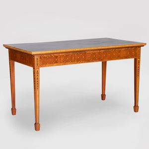 Continental Neoclassical Style Mahogany, Ebony and Fruitwood Marquetry Table