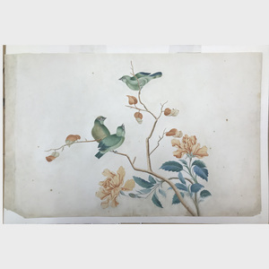 Maria Spring Carborne: Two Birds on a Branch; and Three Green Birds