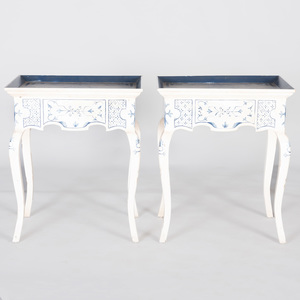 Pair of Danish Rococo Style Painted Tray Tables, Amy Howard Collection, Modern