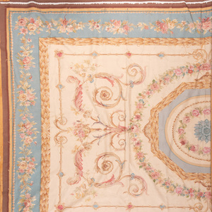 Aubusson Style Teal, Pink and Beige Carpet