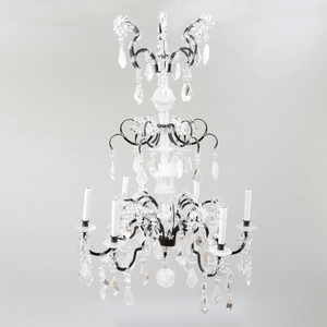 Italian Baroque Style Metal-Mounted Rock and Cut-Crystal Six-Light Chandelier