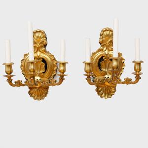 Pair of Continental Rococo Style Gilt-Bronze Three-Light Sconces