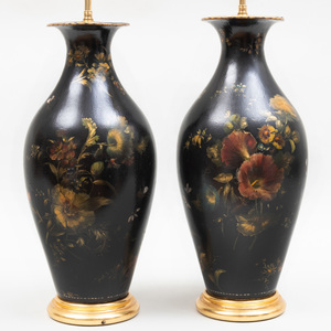 Pair of Victorian Mother-of-Pearl and Black Papier Maché Urn-Form Lamps
