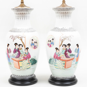 Pair of Chinese Famille Rose Porcelain Baluster-Shaped Urn Lamps