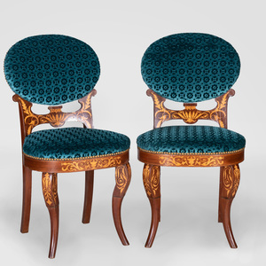 Pair of Early Napoleon III Mahogany and Fruitwood Marquetry Side Chairs