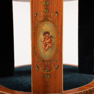 Edwardian Style Painted Satinwood Three-Tiered Revolving Bookstand, in the manner of Angelica Kauffman