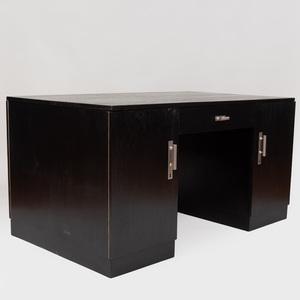 Austrian Art Deco Style Chrome-Mounted Ebonized Partners Desk