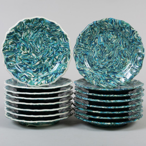 Two Sets of Eight Pascale Mestre Blue and Green Aptware Plates