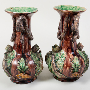 Pair of Caldas Portuguese Pottery Palissy Style Vases