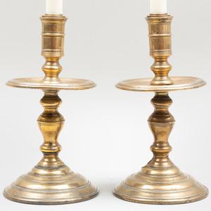 Pair of Flemish Baroque Brass Candlesticks