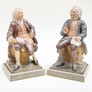 Pair of Painted Plaster Figures of Voltaire and Rousseau, Signed Viviani 1869
