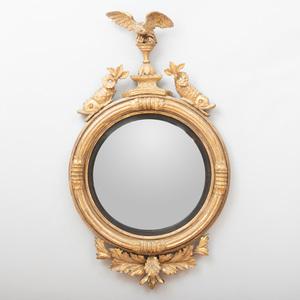George III Giltwood and Ebonized Convex Mirror