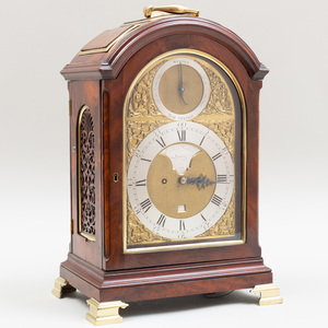 George III Brass-Mounted Mahogany Mantle Clock