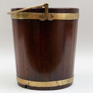 George III Mahogany Brass-Banded Bucket
