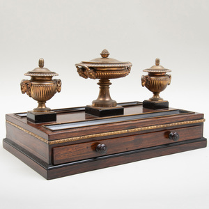 Regency Gilt-Bronze-Mounted Ebony Inlaid Rosewood Inkstand, Attributed to Benjamin Lewis Vulliamy