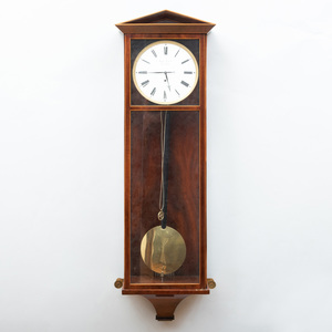 Austro-Hungarian Inlaid Mahogany and Brass Regulator, Dial Signed Josef Lechner in Pesth