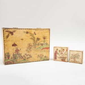 Group of Three English Cream and Polychrome Lacquer Boxes