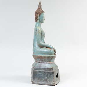 Thai Bronze Seated Figure of a Buddha