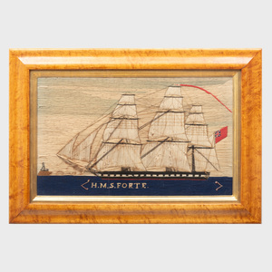 Marine Needlework Picture of the H.M.S. Forte