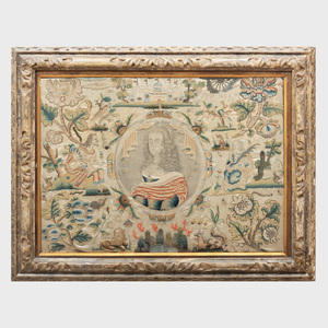 Fine William and Mary Embroidered Figural Panel