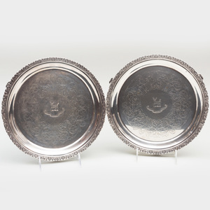 Pair of Early American Silver Salvers