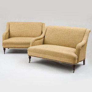 Pair of Mitchell Gold and Bob Williams Victorian Style Brass-Studded, Straw-Colored, Woven Upholstered Love Seats