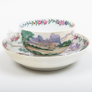 Chinese Export Porcelain Tea Bowl and Saucer Decorated with Fox Hunting Scenes