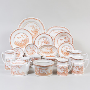 Furnivals Transfer Printed Porcelain Part Dinner Service, in the 'Quail Brown' Pattern