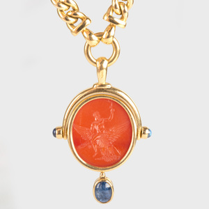 Bulgari 18k Gold Necklace, Set with a Neoclassical Agate Intaglio of the Apotheosis of Hercules and a Sapphire