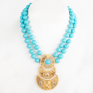 14k Gold and Simulated Turquoise Bead Necklace