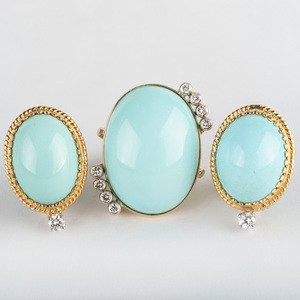 Pair of 18k Gold, Diamond and Turquoise Earclips and Matching Ring