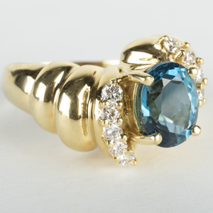 18k Gold, Blue Topaz and Diamond Ring