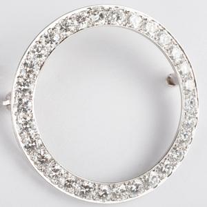 Platinum and Diamond Circle Brooch