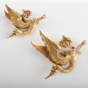 14k Gold and Diamond Dragon Pin