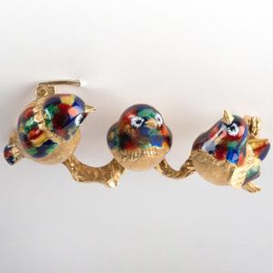 18k Gold and Enamel Bird Pin
