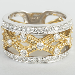 18k Yellow and White Gold Diamond Band Ring