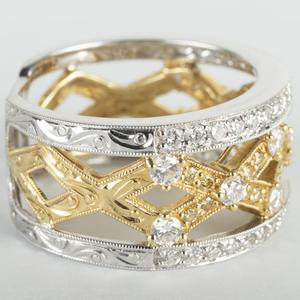 18k Yellow and White Gold Diamond Band Ring