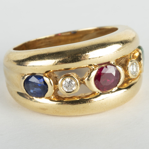 18k Gold Colored Stone and Diamond Band Ring