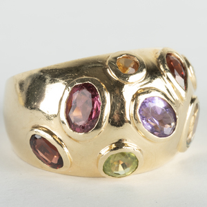 14k Gold and Colored Stone Domed Ring