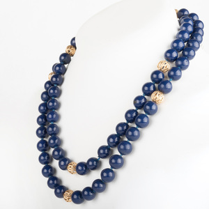 Lapis Lazuli and Gold Bead Necklace