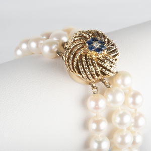 14k Gold and Cultured Pearl Triple Strand Bracelet