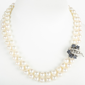 Cultured Pearl Necklace with 14k White Gold, Sapphire and Diamond Clasp