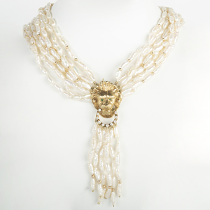 Eight Strand Freshwater Pearl Necklace with 14k Gold and Diamond Lion's Head Clasp