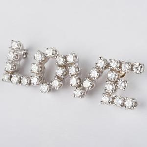 14k White Gold and Diamond LOVE Pin