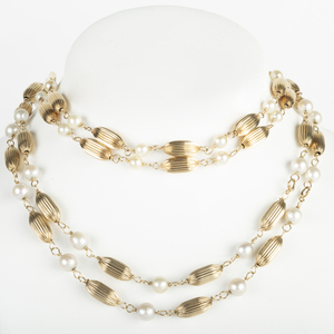 14k Gold Bead and Pearl Necklace and a Matching Bracelet